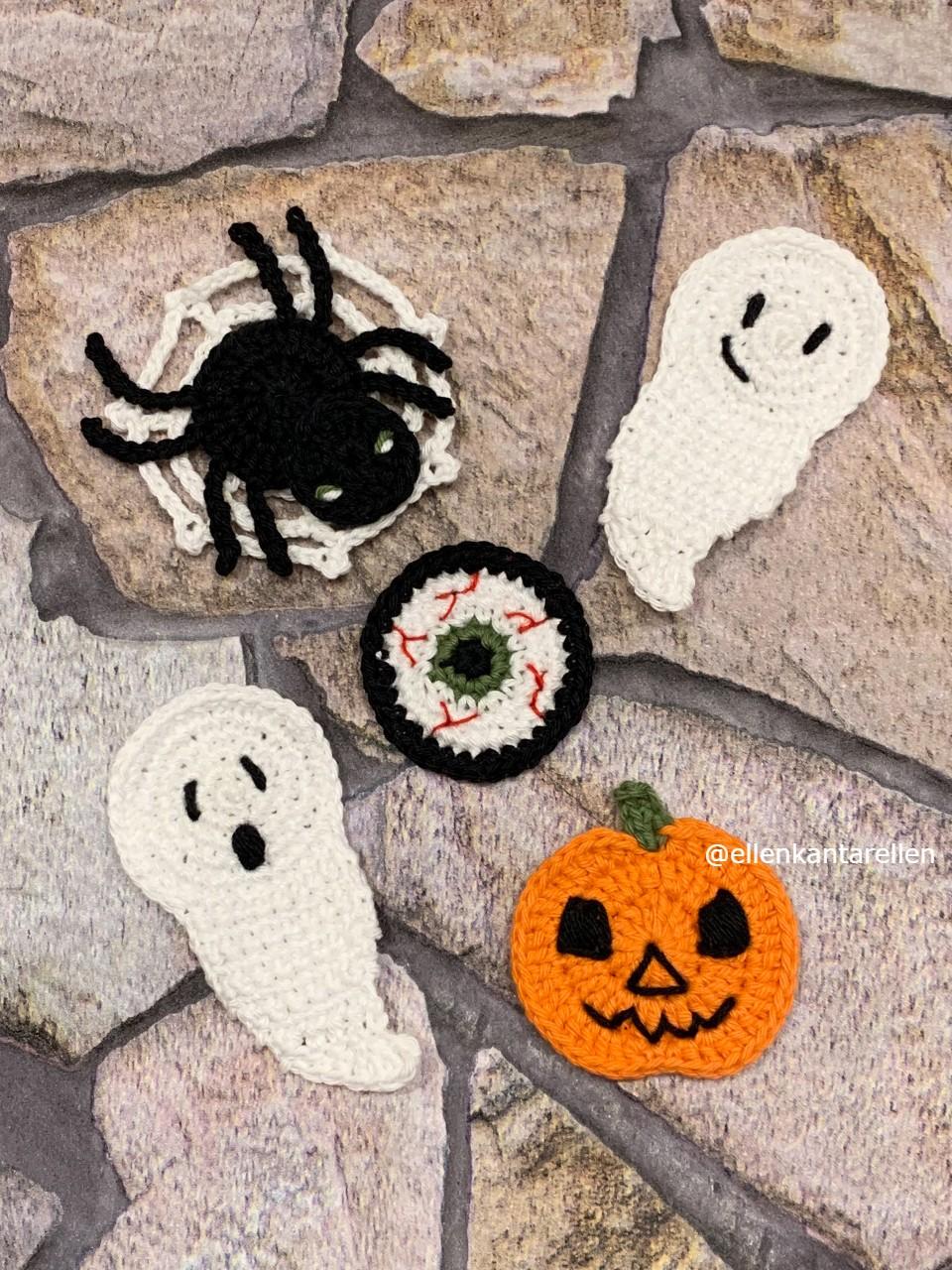 Mönster virkade halloween applikationer